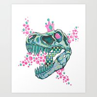trex Art Prints featuring Princess Power Trex Skull by Kali Dinosaur