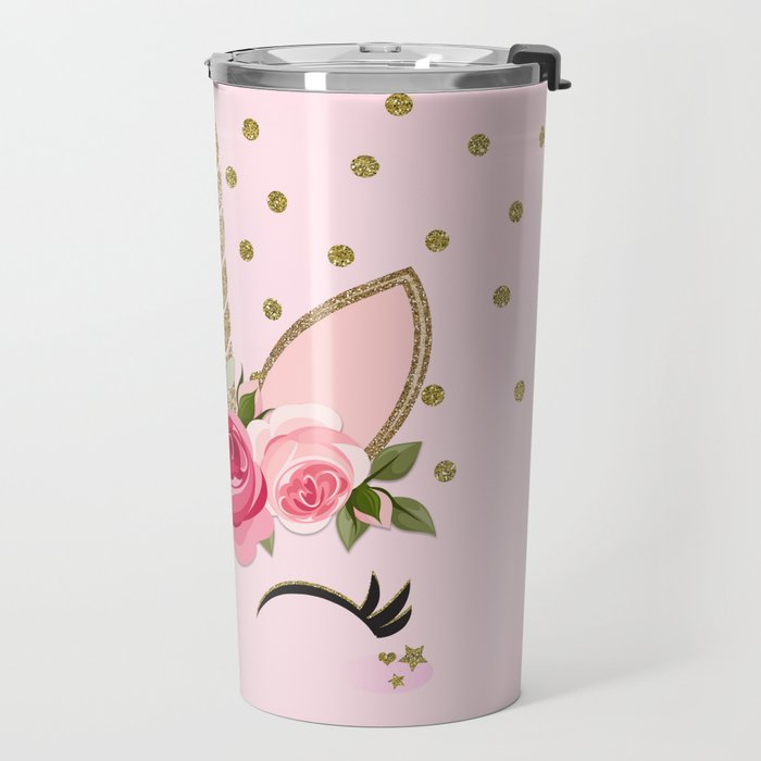 Pink & Gold Cute Floral Unicorn Travel Mug
