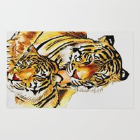 tigers Area & Throw Rugs featuring Tigers by DrewzDesignz