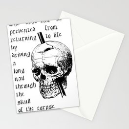 Driving A Long Nail Through The Skull Of A Corpse  Stationery Cards