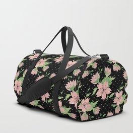 Pink flowers on black Duffle Bag