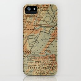 Vintage Jersey City, Newark, Elizabeth NJ Map (1894) iPhone Case