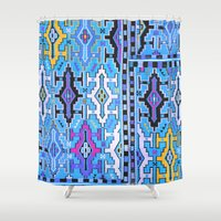 kilim Shower Curtains featuring Aztec Kilim by EllaJo Design