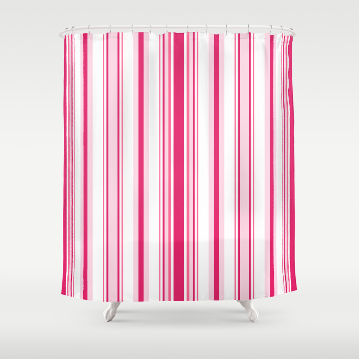 Pink Alicious Stripes Shower Curtain