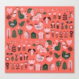 Polki Pink and Green  Canvas Print