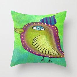 Quirky Bird 4 Throw Pillow