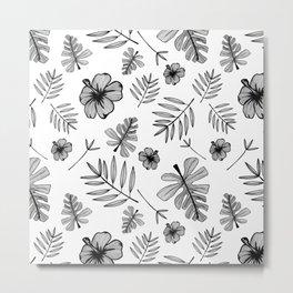 Hawaiian Hibiscus Flower and Tropical Leaf Pattern Metal Print