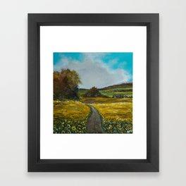Sunflowers field Framed Art Print