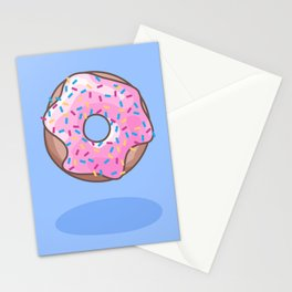 Pink Strawberry Donut Stationery Cards