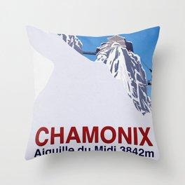 Chamonix ski Throw Pillow
