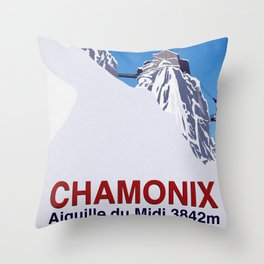 Chamonix ski Throw Pillow