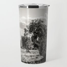 Olive trees in the countryside near the medieval white village of Ostuni Travel Mug