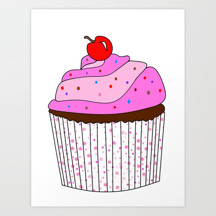 Pink Cupcake With Sprinkles Art Print by kathleensartoris