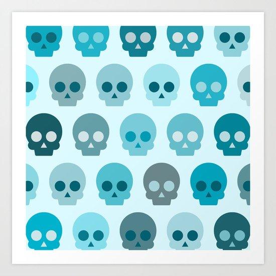 Colorful Skull Cute Pattern II Art Print