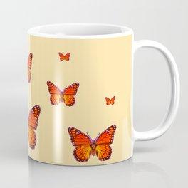 ORANGE MONARCH BUTTERFLIES CREAMY YELLOW Coffee Mug