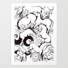 B&W Horse Pattern Art Print