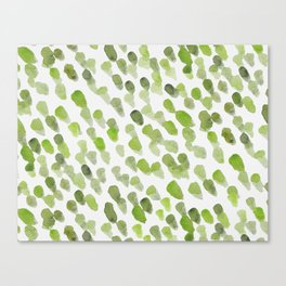 Imperfect brush strokes - olive green Canvas Print