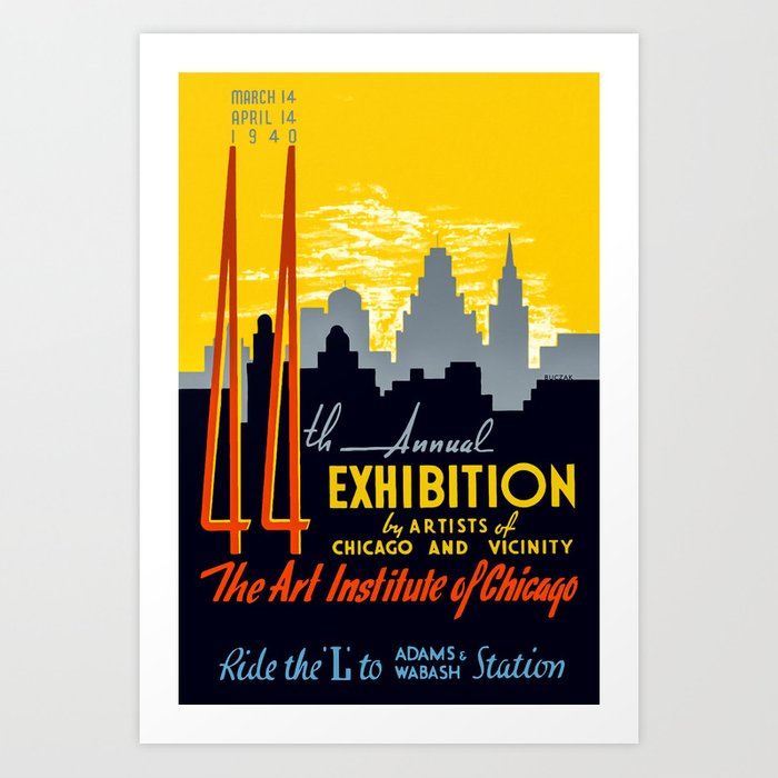 cb00a914731 Vintage Chicago Art Poster - 1940 s Art Print by marktisdale