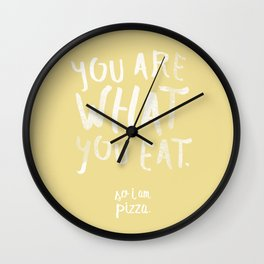 Pizza — Poster, scandinavian, art print, drawings, paintings, type, illustration, motivation, veggy  Wall Clock