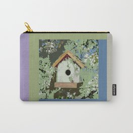 Birdhouse in barnwood, blue sage green taupe Carry-All Pouch