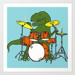 T-Rex Drummer Art Print