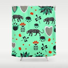 Fresh summer with dragonflies and black panthers Shower Curtain