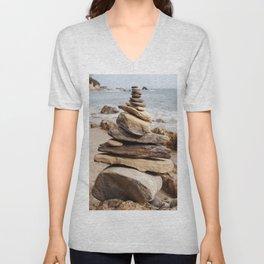 Natural Beach Rock Formation Coastline Yoga Earth Peace Zen Fine Art Print Unisex V-Neck
