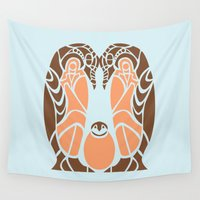 penguins Wall Tapestries featuring Penguins by Hinterlund