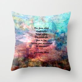 Challenging Fear Rumi Uplifting Quote With Beautiful Underwater Painting Throw Pillow