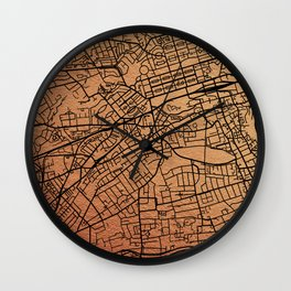 Rose gold Edinburgh map Wall Clock