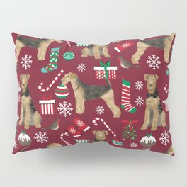 Airedale Terrier Christmas dog print dog pattern airedale pillow airedale phone case Pillow Sham