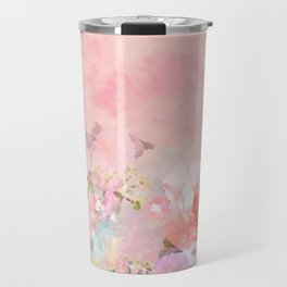 Modern blush watercolor ombre floral watercolor pattern Travel Mug