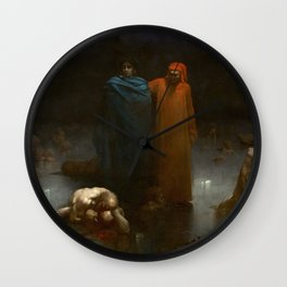 Gustave Doré - Dante And Virgil In The Ninth Circle Of Hell Wall Clock
