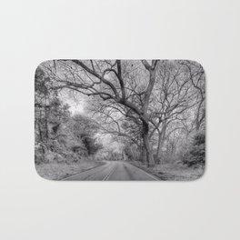Hairy Man Road - Brushy Creek- Round Rock, Texas - Black and White Bath Mat