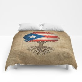 Vintage Tree of Life with Flag of Puerto Rico Comforters