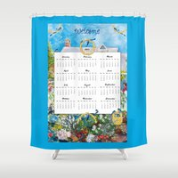 calendar Shower Curtains featuring Welcome 2015 Calendar by KarenHarveyCox
