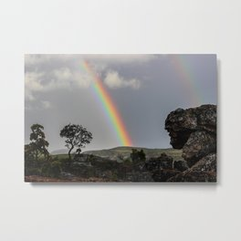 Double Rainbow Africa Landscape Metal Print