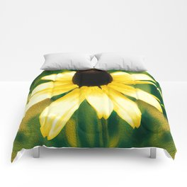 Vibrant Yellow Coneflower Comforters