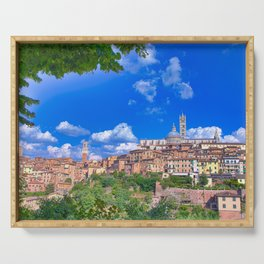 Beautiful panoramic view of the historic city of Siena, Italy. Serving Tray