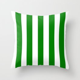 Green (HTML/CSS color) - solid color - white vertical lines pattern Throw Pillow