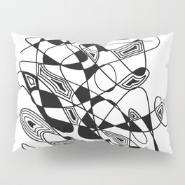 Black White Abstract Ink Drawing Lines and Shapes 6 Pillow Sham