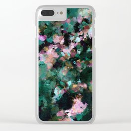 Contemporary Abstract Wall Art in Green / Teal Color Clear iPhone Case