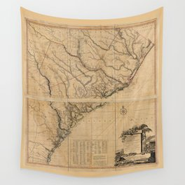 Map of South Carolina and Part of Georgia (1780) Wall Tapestry