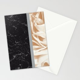Cafe Au Lait Flower Meets Gray Black Marble #5 #decor #art #society6 Stationery Cards