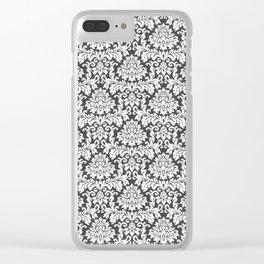 Vintage black white chic elegant floral damask Clear iPhone Case