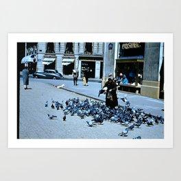 Days Long Past: Pigeon Lady Art Print