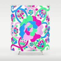"beth hoeckel Shower Curtains featuring ""Beth"" by Ma'at Silk"