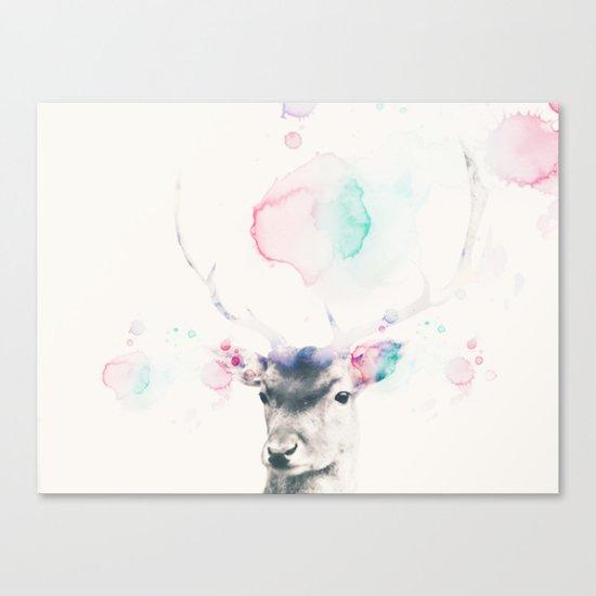 Pastel watercolor deer -Scandinavian art Canvas Print