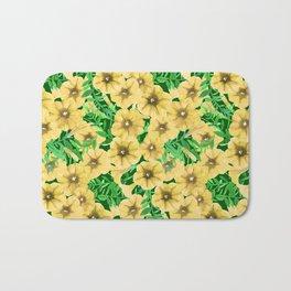 Yellow watercolor petunia flower pattern Bath Mat