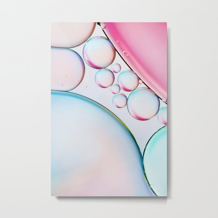 Bubble Abstract with Gloss Pink Metal Print